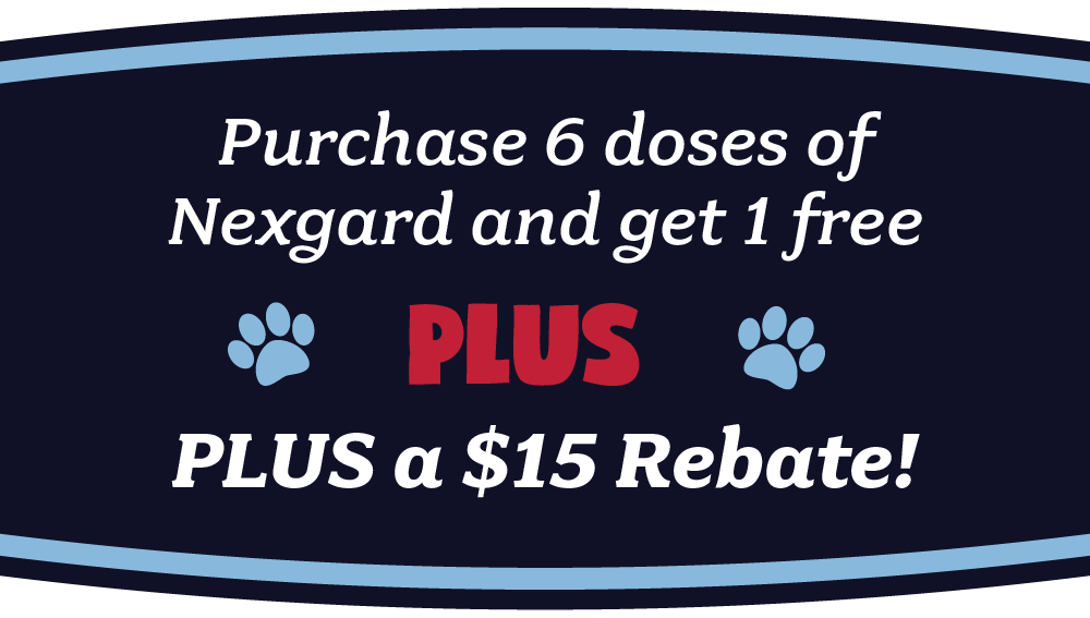 Buy 6 does of Nexgard, get 1 free and a $15 mail in rebate